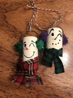 A personal favorite from my Etsy shop https://www.etsy.com/listing/559977248/snowman-wine-cork-ornament-set