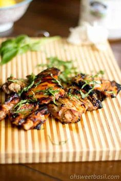 Grilled honey lemon basil chicken thighs are a new twist to this year's summer bbq that your guests will be raving about
