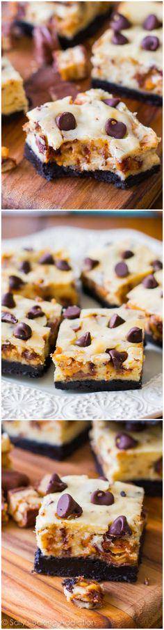 8 Ingredient Snickers Cheesecake Bars | sallysbakingaddiction.com | #snickers