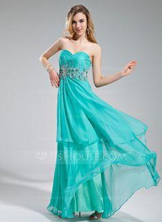 A-Line/Princess Sweetheart Floor-Length Chiffon Prom Dress With Ruffle Beading Sequins (018018770)