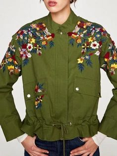 Army Green Embroidery Floral Ruffle Hem Long Sleeve Parka Coat Sweater Sale, Loose Sweater, What To Wear Today, Floral Print Maxi Dress, Parka Coat, Knit Fashion, Floral Embroidery, Army Green, Jackets For Women