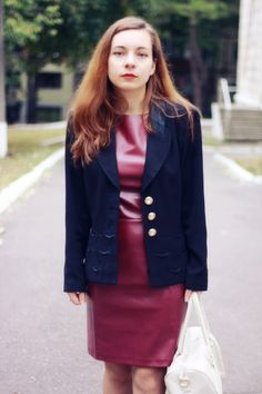 Fashion Shores: BURGUNDY LEATHER DRESS