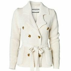 SOLD in bundle. Gorgeous Marlene Birger Sweater. Toasty warm for those chilly Autumn evenings! Cream color. Heavy knit. Cotton. Wooden buttons. Small but fits either a Medium or Small. Super cute with skinny jeans or leggings. No belt. Noticed 2 small light(er) spots on front pocket. Not noticeable unless you look very close. Marlene Birger Jackets & Coats Blazers