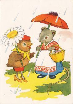 Vintage Estonian Postcard Illustration by Valyal