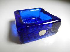 REIJMYRE SWEDEN BLUE GLASS BOWL LABELLED SCANDINAVIAN VINTAGE RETRO in Pottery, Porcelain & Glass, Glass, Art Glass | eBay