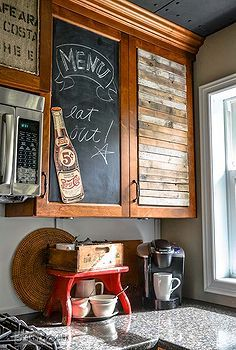 waking up sleepy kitchen cupboards with junk, design d cor, diy home crafts, kitchens, repurposing upcycling, These junky cupboards couldn t have been easier to pull off Each treatment was glued onto a piece of plastic coroplast that can be found at most hardware stores for cheap