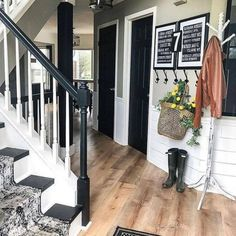 Image may contain: indoor via Farmhouse Design, Rustic Farmhouse, Farmhouse Style, Entrance Decor, Home Organization, Fixer Upper, Sweet Home, New Homes, Stairs