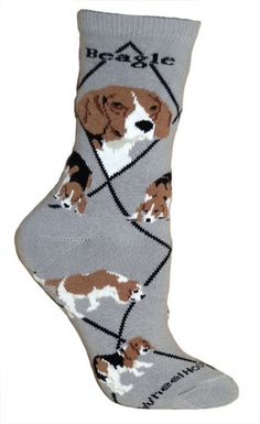 Beagle Dog Breed Gray 1 Pair Lightweight Stretch Cotton Adult Novelty Socks