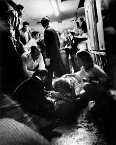 Ethel Kennedy and Jean Kennedy Smith with RFK moments after he was shot, Ambassador Hotel, June 5, 1968.