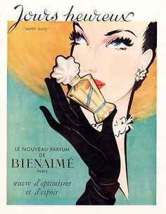 Chic Parisian perfume circa 1950s