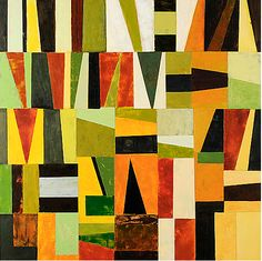nancy egol nikkal, Metro Grid, painted papers on panel, 24x24 inches. Good for a lesson in color and value.