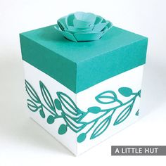 A Little Hut SVG cutting files: Inset flower gift box