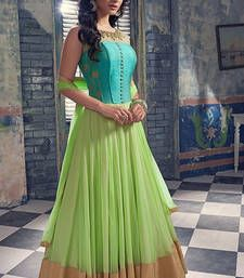 Buy Sky Blue  and  Light Green Georgette Print semi_stitched salwar with dupatta anarkali-salwar-kameez online