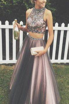 Gorgeous Two Piece Chocolate Long Tulle Prom Dress - Thumbnail 1