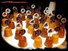 Dulce de leche & chocolate mini jello shots.