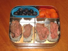roast beef sushi (with a dab of mustard on the rice), carrots, peppers, and blueberries