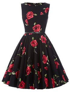 GRACE KARIN BoatNeck Sleeveless Vintage Tea Dress with Belt at Amazon Women's Clothing store: