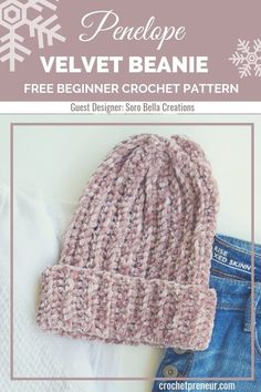 Penelope Velvet Beanie Crochet Pattern: 30 Days of Cozy This beginner-friendly velvet beanie crochet pattern is so easy to make it'll become your new favorite! Made with luxurious velvet yarn, the finished winter hat is both soft and warm. Love Crochet, Beautiful Crochet, Crochet Yarn, Crochet Headbands, Crochet Geek, Single Crochet, Crochet Hat For Men, Crochet Winter Hats, Quick Crochet