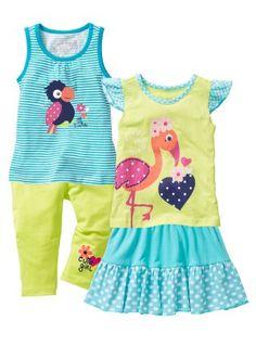 Voir:Top à petites fronces, imprimé et passepoil contrasté. T-shirt à mancherons et imprimé. Legging et jupe à taille élastique et motif.