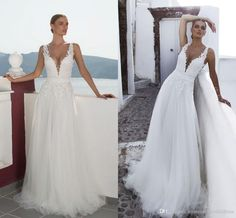 Deep Plunging V Neck Wedding Dresses Lace Appliques Tulle Brides Gowns Spaghetti Backless Wedding Dresses Beach Brides Wedding Gowns Z931 Best Wedding Dresses Bridal Wear From Rosemarybridaldress, $160.81| Dhgate.Com