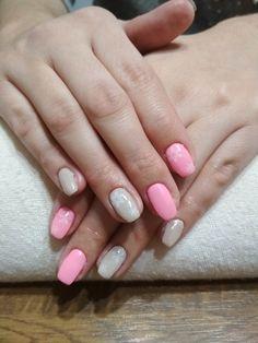 Grey and pink gel, white flake