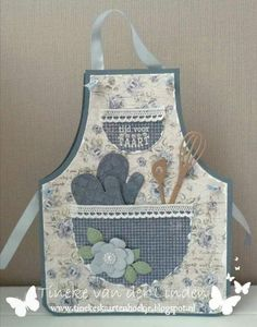 """Sentiment says """"Time for Pie"""" in Dutch. Fancy Fold Cards, Folded Cards, Sewing Crafts, Sewing Projects, Cute Aprons, Sewing Aprons, Shaped Cards, Kids Apron, Aprons Vintage"""