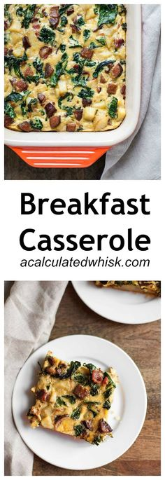 Breakfast Casserole with Bacon, Sausage, Sweet Potato, and Kale | acalculatedwhisk.com @beckywink
