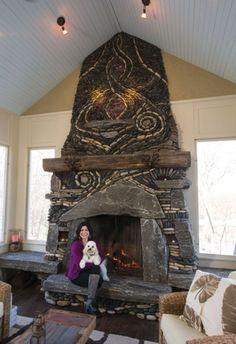 Minnetonka Custom Fireplace Is a Work of Art Custom Fireplace, Home Fireplace, Fireplace Surrounds, Fireplace Design, Fireplace Mantels, River Rock Fireplaces, Outdoor Stone, Stone Masonry, Pebble Mosaic