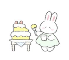 The fluffy bunny sticker 7 – LINE stickers Hue, Cat Icon, Fluffy Bunny, Dibujos Cute, Cute Doodles, Cute Memes, Line Sticker, Illustration Girl, Cute Bunny