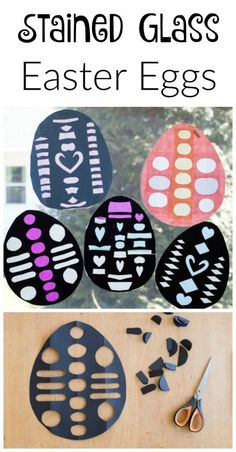 Easter Craft for Kids - Cut Paper Stained Glass Easter Eggs