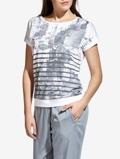 Top met streep dessin - Pure white