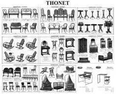 Em 1859, o catálogo de móveis Thonet incluía 25 modelos de cadeiras, poltronas e mesas e, em 1911, o catálogo continha 1.400 modelos diferentes; em todos eles havia a busca de uma economia dos processos (corte, curvatura, montagem), uma normatização de peças (modulares e intercambiáveis) e das embalagens (máximo de peças em um mínimo volume), além do desenvolvimento de novas máquinas para a transformação do material.