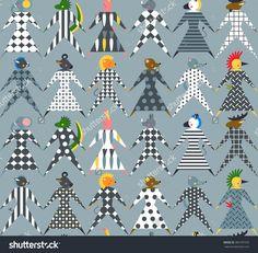 Seamless Pattern Of Animals . Vector Flat Illustration - 382787476 : Shutterstock