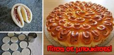 Pizza notes (Greek so translate the page) can work with a sweet dough as well Party Finger Foods, Party Snacks, Appetizers For Party, Sweet Dough, Pizza Bites, Party Buffet, Dinner With Friends, Fun Drinks, Food To Make