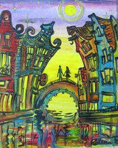 Nuit de pleine lune à Amsterdam - acrylique sur toile - Elena Polyakova (1970-)