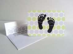 Baby Footprints Note Cards  Set of 10 Baby by IdAndEgoCreations, $20.00