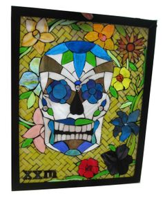 handmade mosic mexican art chair | ... Mosaic Window Day Of The Dead Skull by Sequential Glass Art Mosaic