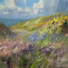 Coastal Path, West Cornwall by British Contemporary Artist Rex Preston Abstract Landscape, Landscape Paintings, Contemporary Landscape, Impressionist Art, Paintings I Love, Pictures To Paint, Preston, Art Oil, Art Forms