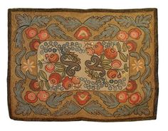 AMERICAN FLORAL HOOKED AREA RUG. CIRCA 1860.Sold: $2,552 ($2,200) The reserve with roses and morning-glories within wide border of elaborate...