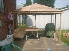 pallets 8x10 gazebo, outdoor living, pallet, here is a shot of front of gazebo with built in bench
