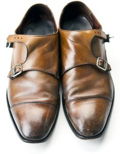 Monk Strap Caramel Leather Men's Shoes. Men's Fall Winter Fashion.