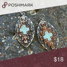 """Southwest Cross Earrings Tri color, silver, copper, turquoise  Aztec style earrings. 2"""" oval Boutique  Jewelry Earrings"""