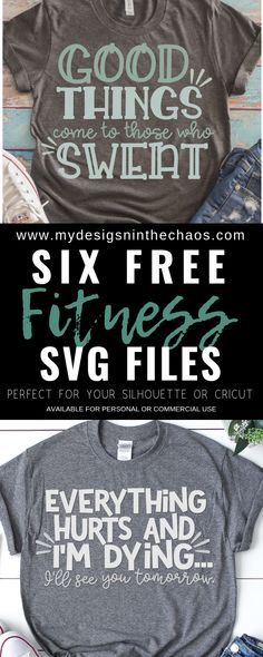 This free SVG fitness cutting file is great to make yourself a workout shirt as you get in shape for the new year. They work perfectly with your Silhouette or Cricut cutting machine. Frases Free Fitness SVG Designs - My Designs In the Chaos Online Fitness, Free Fitness, Fitness Style, Cricut Vinyl, Svg Files For Cricut, Cricut Fonts, Fitness Workouts, Fitness Memes, Funny Fitness