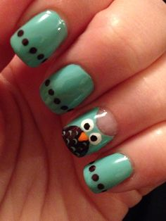Mint And Brown Owl Nail Art