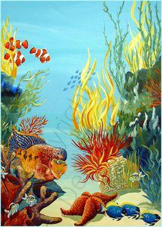 Details about Tropical fish clown underwater Sea Ocean big Giclee ACEO print folk art Criswell - Unterwasser tiere - Underwater Painting, Underwater Fish, Painting Art, Sea Life Art, Sea Art, Sea Murals, Fish Drawings, Sea And Ocean, Ocean Beach