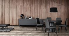 BoConcept modern dining room with Lausanne chairs, Fermo sideboard, and expanding round dining table