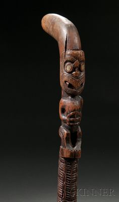 "Maori Carved Wood ""Chief's"" Staff or Walking Stick Wooden Walking Sticks, Walking Sticks And Canes, Walking Canes, Tree Carving, Wood Carving, Maori Patterns, Wood Sculpture, Abstract Sculpture, Bronze Sculpture"