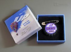 Pixar ~ ELLIE GRAPE SODA BOTTLE TOP PIN BADGE from UP - Mint In Box from Disney Movie Rewards