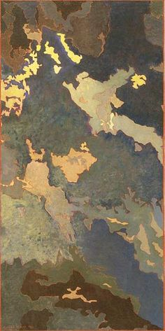 Time and Timelessness by Augustus Vincent Tack 1943 - The Phillips Collection, Washington D.C.  Tack used metallic paint to outline some images.