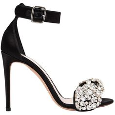 Alexander Mcqueen Women 105mm Crystal Bow Satin Sandals (16 190 ZAR) ❤ liked on Polyvore featuring shoes, sandals, heels, footwear, black, black satin sandals, black embellished sandals, high heel shoes, crystal sandals and embellished sandals